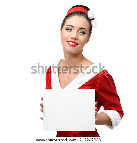 young cheerful retro girl in red vintage dress holding sign isolated on white - stock photo