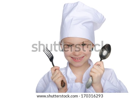 Young chef with fork and spoon isolated on white - stock photo