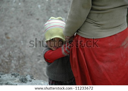 Young child and mother in Northern India - stock photo