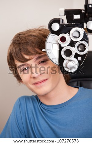 Young child having his eyes tested - stock photo