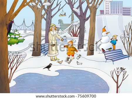 Young children play in the park on the waterfront in the winter - stock photo