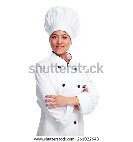 Young chinese chef woman isolated white background - stock photo