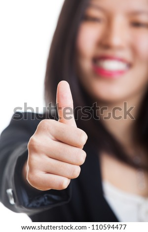 Young Chinese Woman with Thumb Up - stock photo