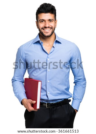 Young college student isolated on white - stock photo