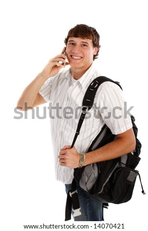Young College Student on Cellphone with Backpack - stock photo