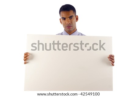 Young & Confident African American / Hispanic Mixed Business Man Displaying a Banner - Isolated over a white background - stock photo