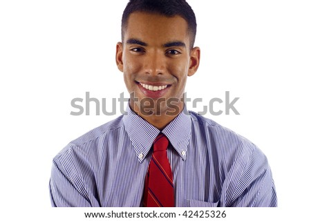 Young & Confident  African American / Latin,Hispanic Mixed Business Man - Isolated over white background - stock photo