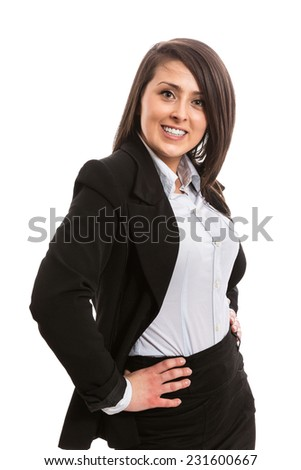 Young confident and successful businesswoman - stock photo