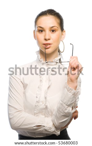 Young confident business woman with eyeglass - stock photo