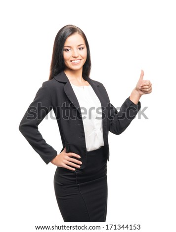 Young, confident, successful and beautiful business woman isolated on white - stock photo