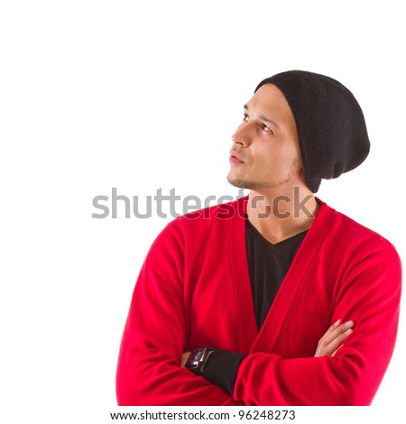 Young cool asian man isolated over white background. - stock photo