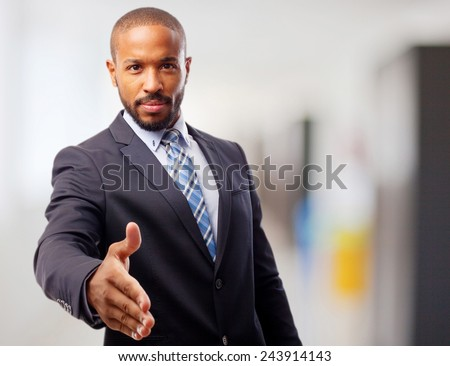 young cool black man confidence shake hands - stock photo