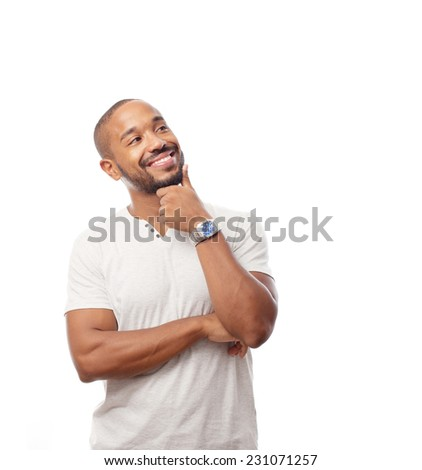 young cool black man thinking - stock photo