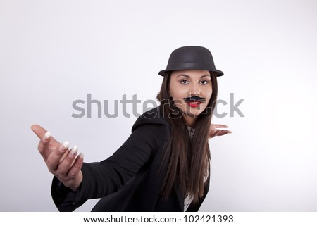 Young cool girl with hat and moustaches - stock photo