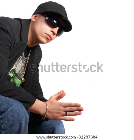 Young cool looking man in a suit. Isolated over white. - stock photo