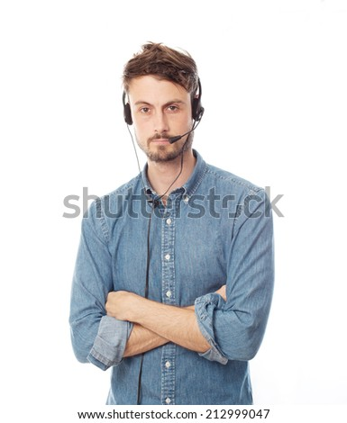 young cool telemarketer man - stock photo
