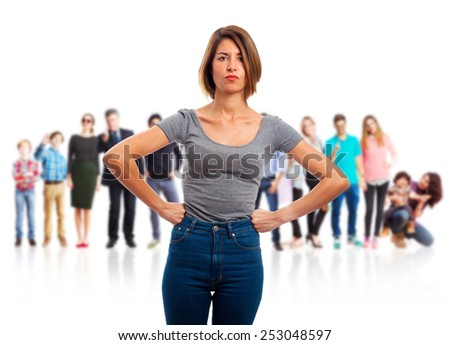 young cool woman angry sign - stock photo