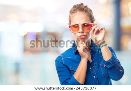 young cool woman doubting - stock photo