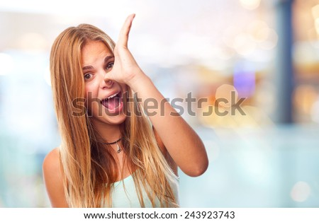 young cool woman joking sign - stock photo