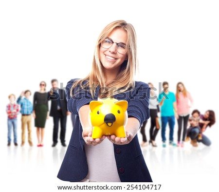 young cool woman savings concept - stock photo