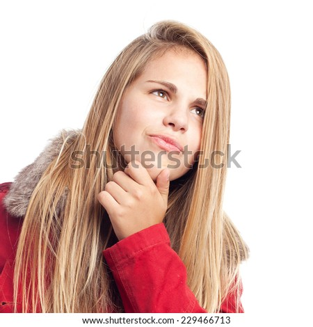 young cool woman thniking - stock photo