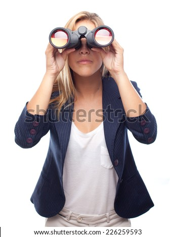young cool woman with binoculars - stock photo