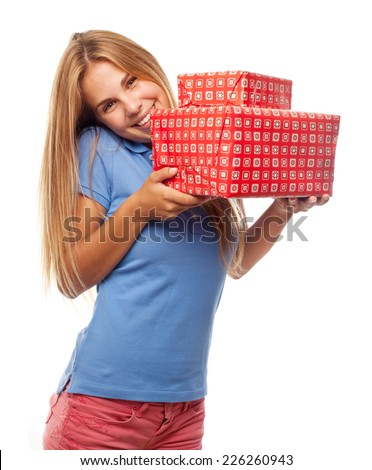 young cool woman with gifts - stock photo