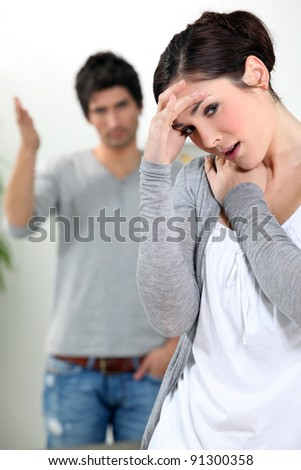 Young couple arguing - stock photo