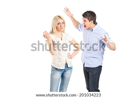 Young couple arguing with each other isolated on white background - stock photo
