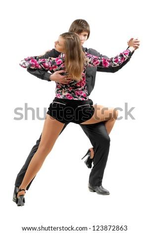 Young couple dancing tango. Isolated on white - stock photo