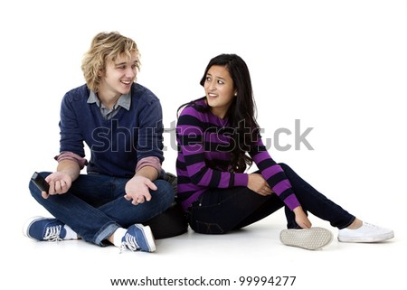 young couple disagreeing - stock photo