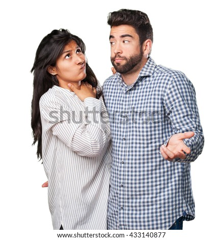 young couple doubting - stock photo
