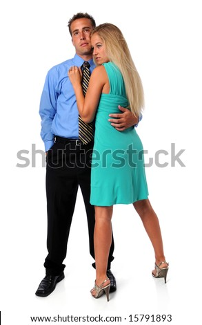 Young couple embracing isolated over a white background - stock photo