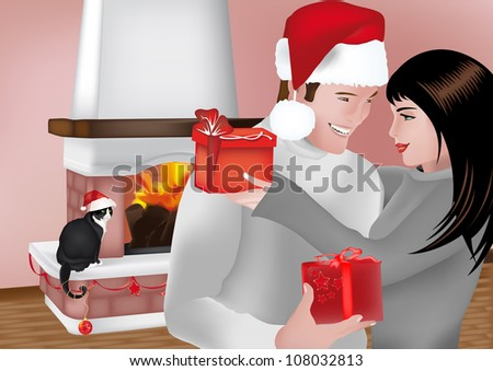 Young couple exchanging gifts front of the fireplace with Christmas cat - stock photo