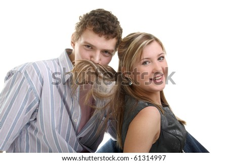 young couple fooling and laughing - stock photo