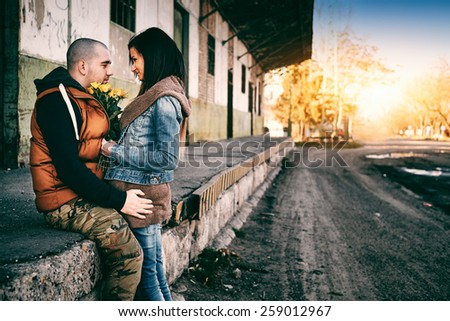 Young couple forgive - stock photo