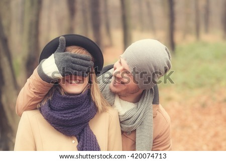 Young couple hanging out and having a good time. - stock photo