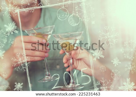 Young couple having a toast for the New Years celebration - stock photo