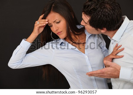 Young couple having an argument - stock photo