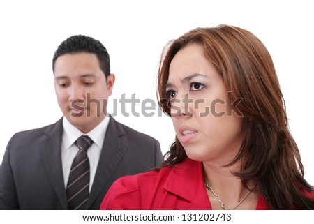 Young couple having argument - stock photo
