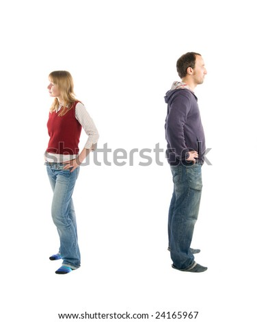 young couple having problems in relationships. - stock photo