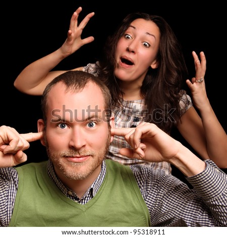 young couple having relationship difficulties - stock photo