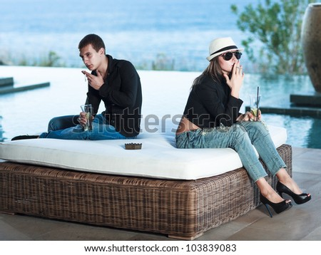 Young couple having some problems. - stock photo