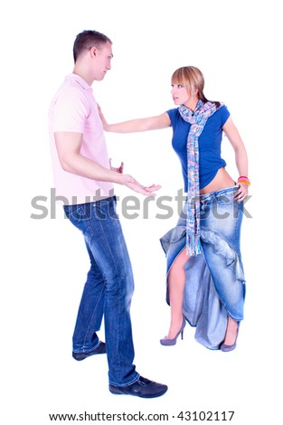 Young couple in conflict, isolated on white background - stock photo
