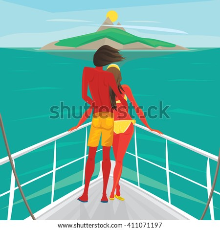 Young couple in love standing on the front of the boat deck and looks at an island in the distance. View from the back - Cruise or sea voyage concept. Raster version of illustration - stock photo