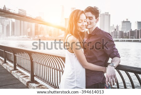 Young couple love moments. Couple enjoying time together in New york city - stock photo