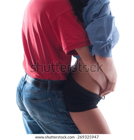 Young couple making passionate touching part of body - stock photo