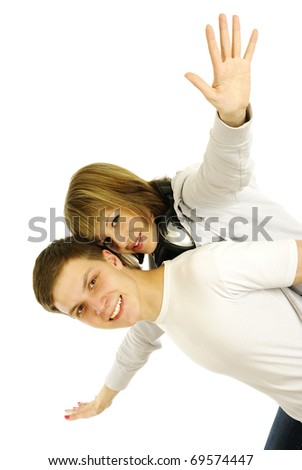 young couple on a white background - stock photo
