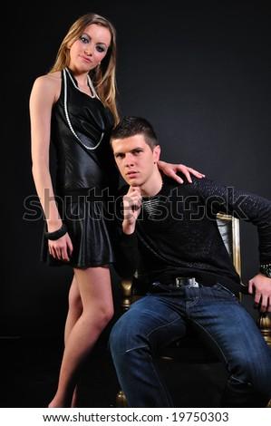 Young couple portrait - stock photo