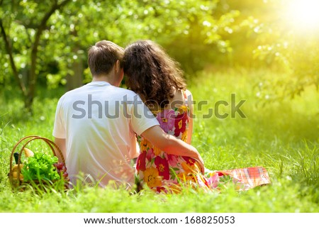 Young couple sitting back to camera on picnic blanket - stock photo